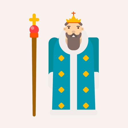 Roi ou monarque conte de fées isolé personnage masculin vecteur homme avec couronne de barbe et sceptre en manteau de fourrure fantastique livre empereur ancienne royauté ou puissance de la noblesse Souverain médiéval ou seigneur majesté.