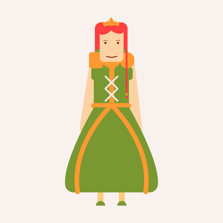 Princess in dress fairy tale book isolated female character vector royalty and nobility kings daughter in diadema or tiara fantastic story imaginary world girl queen costume and jewelry Medieval age.