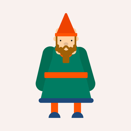 Gnome in cone hat fairy tale isolated male character vector dwarf short man with beard fantasy book imaginary creature gardener magic world strong miner warrior or fantastic helper myth or legend.