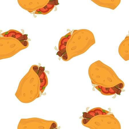 Tacos vector cartoon seamless pattern on white background.
