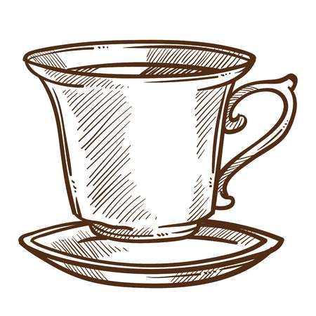 Hot drink coffee or tea cup on saucer isolated sketch vector beverage in dishware energetic refreshment brewing leaves or beans and preparation mug and small plate drawing cafe and restaurant. Stock Vector - 124856176