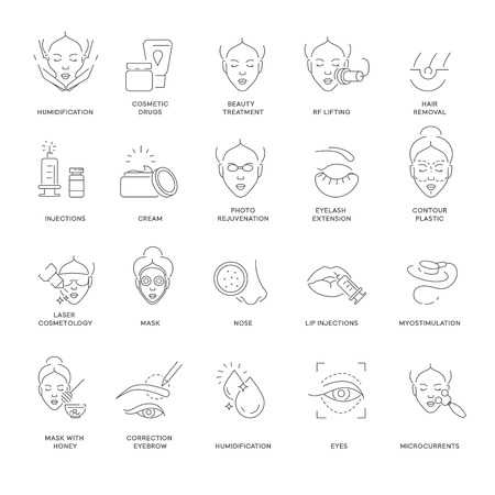 Beauty and spa procedure cosmetology isolated outline icons vector humidification and cosmetic drugs skin treatment and lifting hair removal and injection cream and rejuvenation eyelash extension.