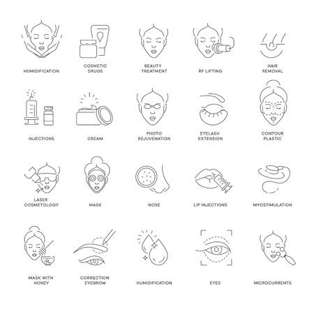 Belleza y spa procedimiento cosmetología iconos de contorno aislados vector humidificación y medicamentos cosméticos tratamiento de la piel y levantamiento de depilación y crema de inyección y extensión de pestañas de rejuvenecimiento.