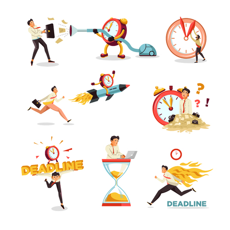 Business project deadline clock and hourglass businessman time delay vector isolated icons man with briefcase vacuum cleaner running entrepreneur timer on rocket paper documents heap back on fire.