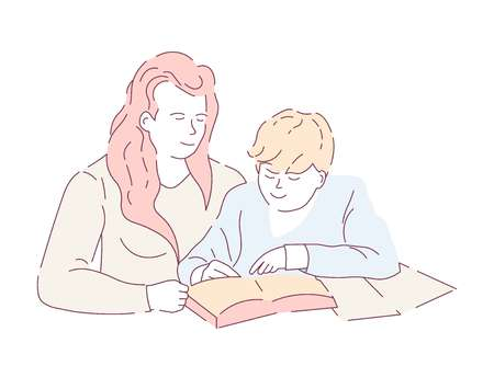 Home education mother and son doing homework book and copybook vector isolated characters writing task and maths textbook and notebook knowledge woman and boy schoolboy studying and parent help.