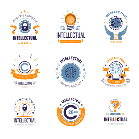 Project rights protection intellectual property day creativity vector isolated icons international holiday light bulb idea symbol and globe copyright inventions and science education and knowledge