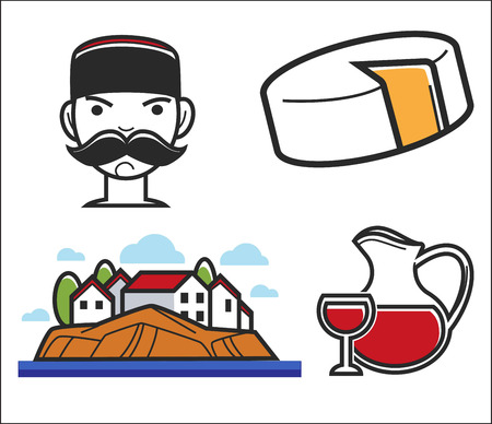 Montenegro symbols travel to Europe food and drink man and house vector illustration Illustration