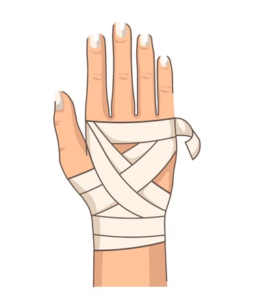 Wrist injury bandage hand bandaging first aid vector isolated body part muscle stretching or dislocation medicine and healthcare joint fixation treatment trauma or wound broken bone fracture.