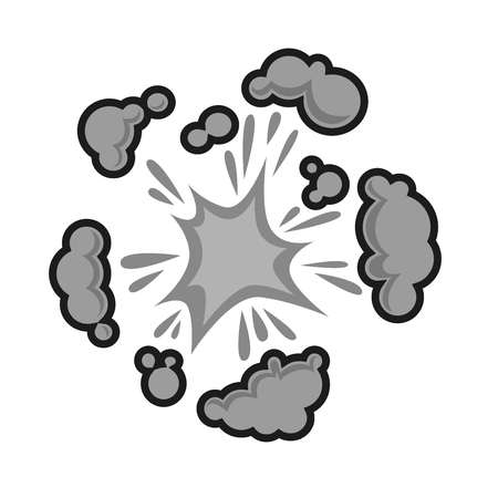 Pow bubble sound blast clouds for cartoon or comic book with explosions and puff clouds blasts. Vector isolated flat icon Illustration