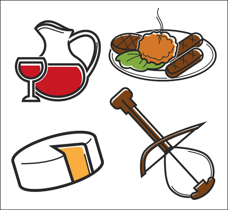 Traveling Montenegro food and drink with musical instrument vector homemade wine jug and glass cutlets with squash caviar cheese head and gusle dishes and beverage national music journey or vacation.
