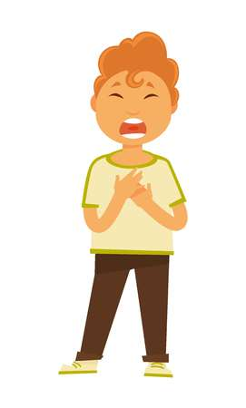 Child hobby and development boy singing kid doing arts vector isolated male character with open mouth song and melody live vocal musical performance schoolboy entertainment childish competition.