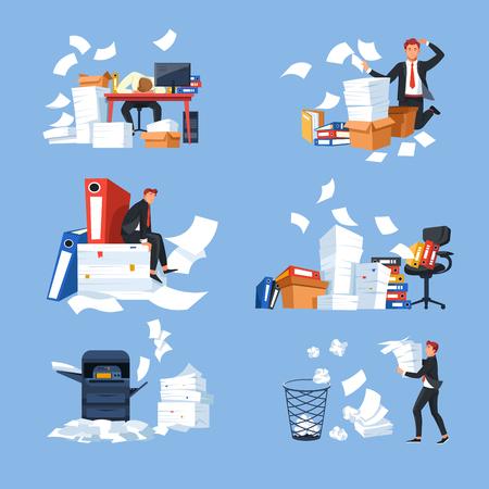 Documentos de papeleo de oficina de negocios y paperblanks hombre de negocios y carga de trabajo vector de estrés y escritorio y silla con exceso de trabajo, carpeta e impresora, cansancio y agotamiento, computadora y papelera. Ilustración de vector