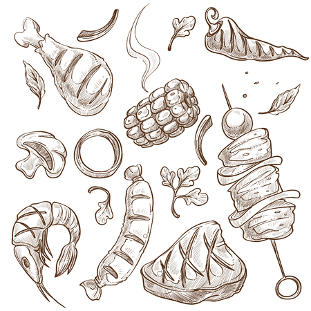 Meat vegetable and seafood bbq food vector isolated sketches barbecue chicken and corn chili pepper and beef or pork sausage and beefsteak onion ring and shrimp or prawn mushroom hot steam meal. Illusztráció