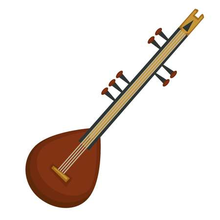 Sitar musical instrument Indian culture symbol vector isolated object playing folk music performance or show travel to India song or melody live sound concert equipment composition or harmony.