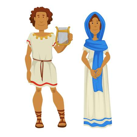Married couple Greek man and woman in national clothing vector isolated male and female characters sandals robe and dress shawl harp Greece musical instrument nationality husband and wife traveling. Banque d'images - 124750906