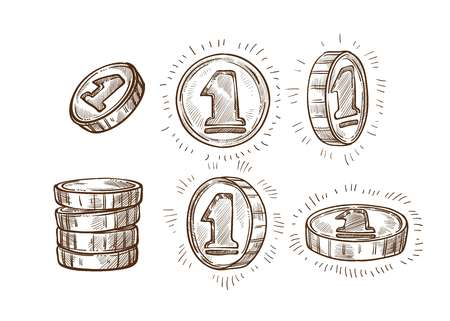 Money or cash stack shiny coins isolated sketches vector profit business and finance wealth treasury or monetary fund banking metal currency profit or payment income and richness economy symbol. Ilustração