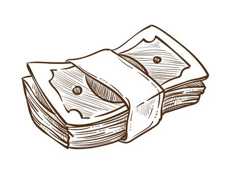 Dollar bills cash money stack in bundle isolated sketch vector finance and business earnings or profit salary wealth banking and economy capital or revenue payment or debt banknote and currency. Ilustração