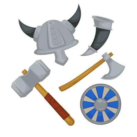 Weapon and armor Viking warrior equipment vector horned helmet horn and ax hammer and shield ancient North soldier items headgear and arms Scandinavian countries history and culture attack or defense.