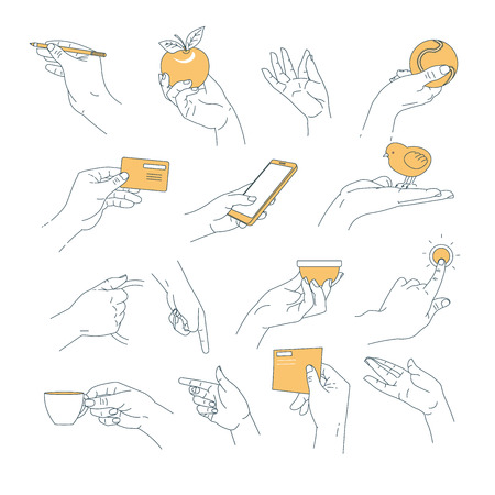 Human palm holding objects hand outline isolated vector body part pencil and apple tennis ball and credit card smartphone and bird handle and cup doorbell and letter gestures and manual signs.