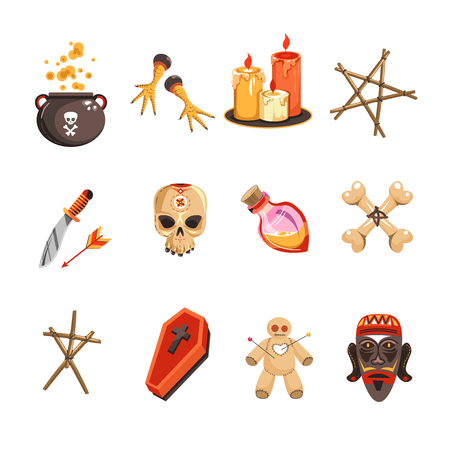 Voodoo attributes candles and skulls pot with brewery vector set of isolated icons witch symbols chicken and pentagram knife and bottle in shape of heart coffin and puppet doll with needles bones.