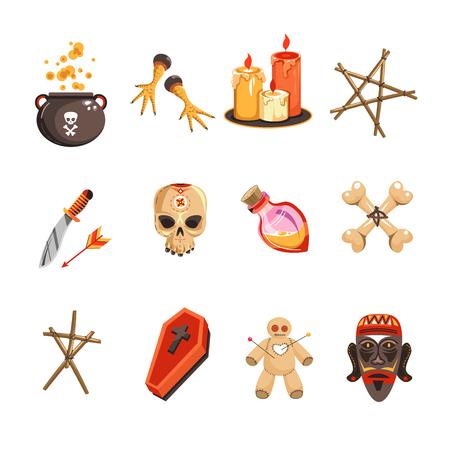 Vudú atribuye velas y calaveras olla con cervecería vector conjunto de iconos aislados bruja símbolos pollo y pentagrama cuchillo y botella en forma de ataúd de corazón y muñeco de marionetas con huesos de agujas. Ilustración de vector