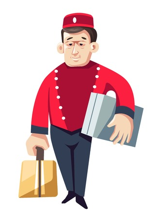 Bellboy or porter hotel worker isolated vector male character in uniform with suitcases or visitors baggage or luggage man in hat and jacket carrying bags help or aid service doorkeeper staff.