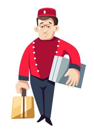 Le groom ou le portier de l'hôtel a isolé un personnage masculin vectoriel en uniforme avec des valises ou des bagages de visiteurs ou un homme de bagages en chapeau et veste portant des sacs d'aide ou d'aide au personnel de portier du service.