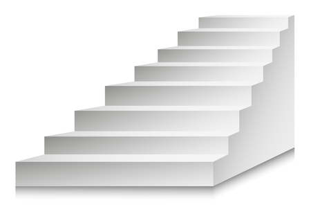 White Stairs or staircases and podium ladder. Vector 3D isolated stairs set. Different angles for interior design or building stairway element template icons