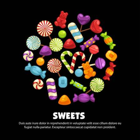 Candies and caramel sweets poster for confectionery or candy shop. Иллюстрация