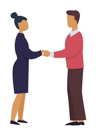 Man and woman holding hands business professional relationship isolated vector male and female character in suits dealing signing contract finance and commerce cooperation and coworking entrepreneurs.