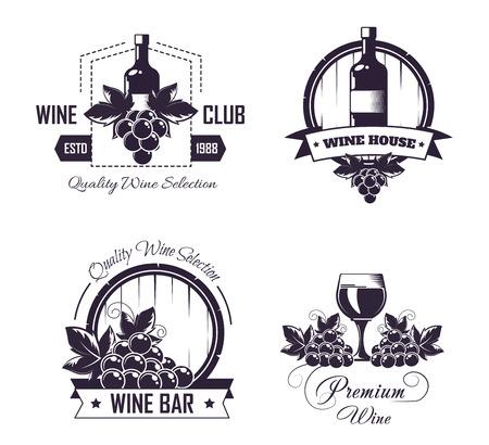 Wine club house logo templates or winemaking bar shop label set.