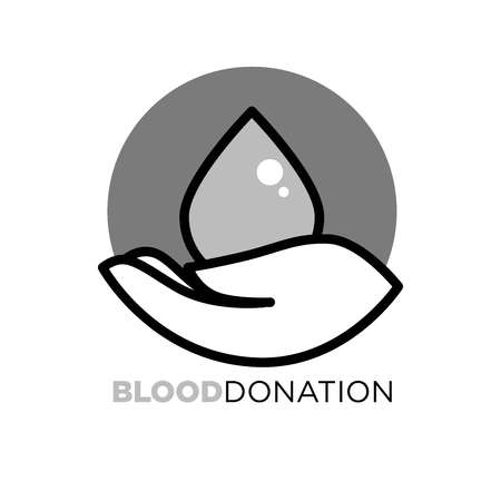 Blood donation agitative poster to encourage for charity. Big red drop and human palm inside circle isolated cartoon vector illustration with sign underneath. Help for injured or seriously ill people.