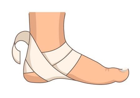 Bandażowanie pięty bandaż uraz stopy lub rozciąganie pierwszej pomocy na białym tle część ciała wektor medyczna elastyczna taśma środek ratunkowy lek przeciwbólowy i opieka zdrowotna traumatologia leczenie uszkodzeń mięśni szpitalnych.