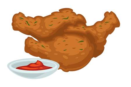 Fast food meal deep fried chicken legs with bbq or ketchup sauce vector drumsticks or poultry legs with crispy crust and dip meat product street dish isolated snack with gravy cafe or bistro.