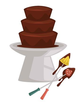 Fondue aux fruits et aux baies fontaine de chocolat ananas et fraise sur fourchette vecteur dessert liquide chaud et morceaux de nourriture friandise festive produit de confiserie fête fourchettes à trempette douce fondant la mousse de cacao.