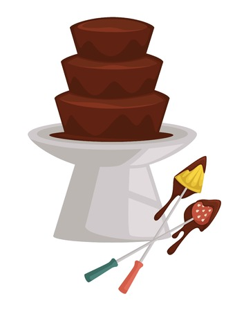 Fondue fruit and berry chocolate fountain pineapple and strawberry on fork vector dessert hot liquid and food pieces festive treat confectionery product party sweet dip forks melting cocoa mousse.