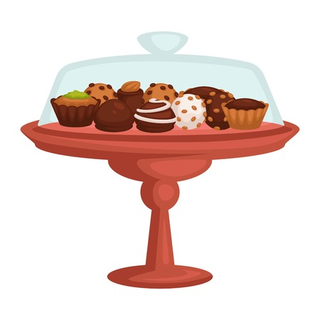 Chocolate cake and cupcake cookie and candy on stand isolated object Illustration
