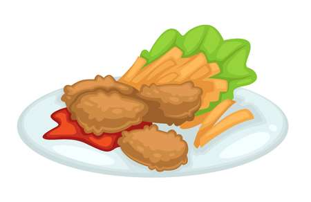 French fries and deep fried chicken cutlet ketchup and lettuce vector isolated meal on plate poultry meat dish potato and salad leaf