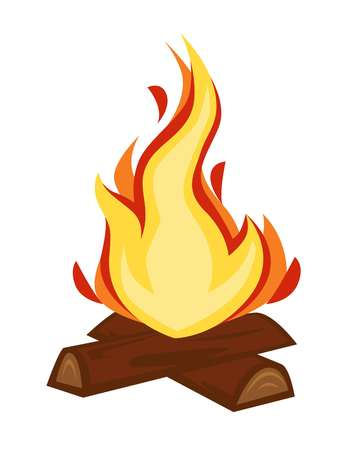 Fire discovery campfire or bonfire wood and flame stone age vector isolated firewood warmth source camping or hiking tourism sparkle cave heating primitive cooker humanity evolution and development.