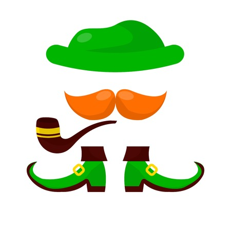 Leprechaun hat mustache smoking pipe and boots Patricks day vector isolated fairy creature outfit luck and fortune footwear Irish holiday Ireland tradition and custom national festival green color. Illustration