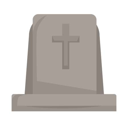 Death and funeral gravestone or tombstone with cross isolated grave interment process grief memorial stone monument for graveyard burial ceremony corpse tomb mourning dirge and cape religion ritua.