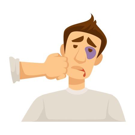 Labio sangrante y puñetazo en el ojo morado en la cara herida vector aislado personaje masculino golpeado tipo puño en la mejilla lucha violencia hematoma y disección gota de sangre trauma agotado sufrimiento hombre amenaza para la salud.