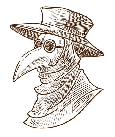 Medieval death symbol plague doctor mask isolated sketch crown neck goggles or glasses hat and hood ancient surgeon head portrait drawing disease and illness evil mascot masquerade or Halloween.