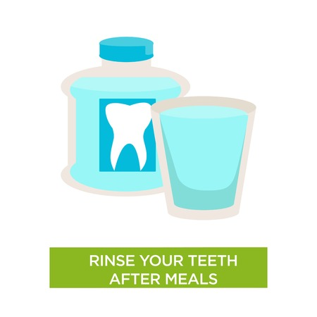 Oral cavity hygiene rinse teeth after meal dental care isolated vector bottle and cup with medical antibacterial liquid dentistry medicine and healthcare caries prevention rinsing mouth.