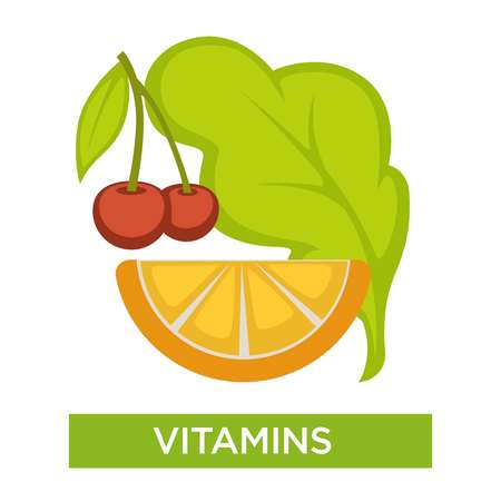 Healthy nutrition vitamin complex cherry and orange slice berry and fruit salad leaf or lettuce vector medical advice medicine and healthcare natural food and organic products immune system support.