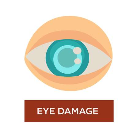 Diabetes symptom eye damage blurred pupil and iris isolated vector eyeball vision or sight problem medicine and healthcare sugar level organ of perception treatment disease or illness ophthalmology.