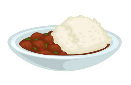 Meat and curry rice with gravy stewed beef pork or chicken pieces and sauce vector isolated dish in bowl cereal garnish lunch meal nutrition dressing cooking and culinary recipe cuisine healthy food. Illustration