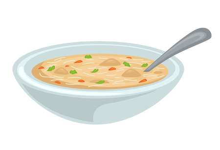 Soup in bowl chicken broth or bouillon poultry meat and vegetables vector isolated dish noodles and greenery liquid hot meal with spoon lunch main course homemade food.