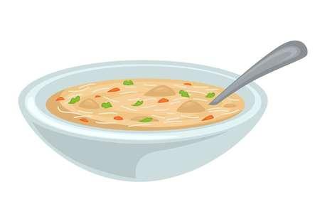 Zupa w misce bulion z kurczaka lub bulion mięso drobiowe i warzywa wektor na białym tle danie makaron i zieleni płyn gorący posiłek z łyżką obiad danie główne domowe jedzenie.