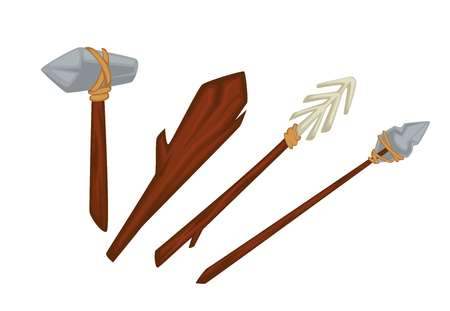 Primitive weapon stone age of wood and stone or bone prehistory vector hammer and bat spears Banque d'images - 124655130